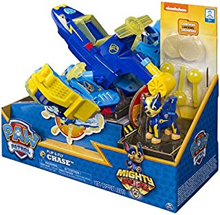 PAW Patrol Mighty Pups - Chase's Flip & Fly, 2-in-1 Transforming Vehicle with Launchers, Walmart Exclusive, for Ages 3 and Up