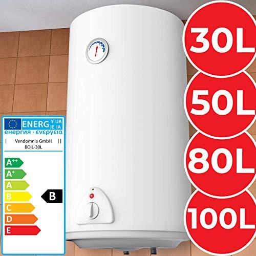Elektro Warmwasserspeicher - Thermometer, 1500W, emailliert, 30 Liter Speicher, für Wandmontage - Wasserboiler, Boiler, Warmwasserbereiter, Warmwasserboiler für Bad