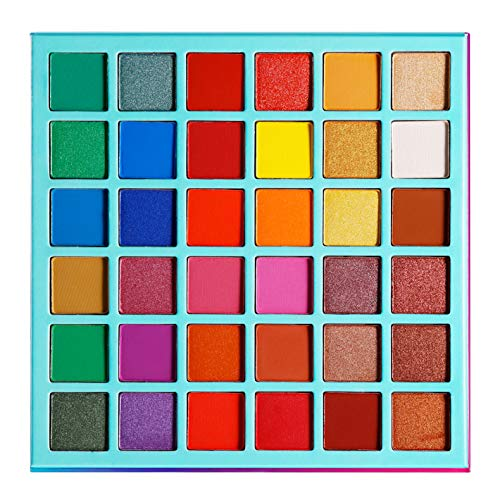 Eyeshadow Palettes Professional Makeup Bright Color,Afflano Colorful Pigmented-Red Orange Yellow Brown Green Blue Purple Rainbow Eye Shadow Palettes,Matte Shimmer Artistic Garden 36 Colours Pallet
