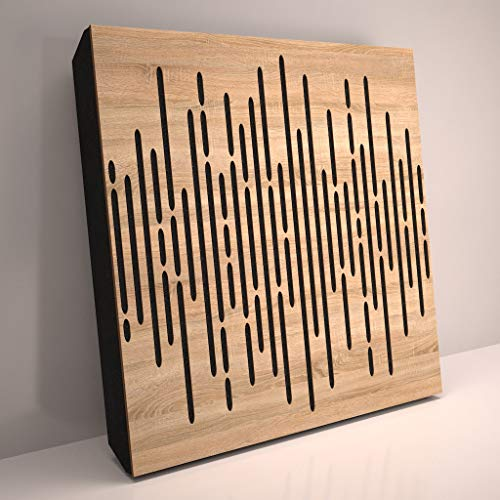 (4 Pack) Sound Absorption-Diffuse Acoustic Panel «Wave» for rec.studio | Wood laminated: (Sonoma)