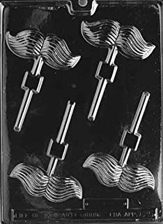 Cybrtrayd Life of the Party D025 Mustache Lolly Chocolate Candy Mold in Sealed Protective Poly Bag Imprinted with Copyrighted Cybrtrayd Molding Instructions
