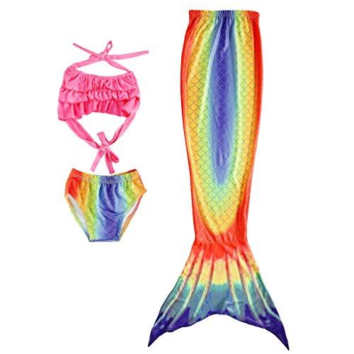 Lito Angels 3 Stück Prinzessin Meerjungfrau Schwimmanzug Badeanzüge mit Schwanz Mädchen MulticolouRot 6-7 Jahre