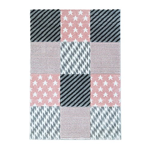 Vloerkleed, vlakpolig, laagpolig, modern ruitpatroon, sterren, pastelkleur, roze, woon-/tienerkamer 160/230 cm roze