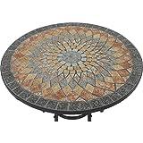 Siena Garden Tisch Prato, Ø70x71cm, Gestell: Stahl, pulverbeschichtet in schwarz matt, Fläche: Mosaik,Tischplatte: Keramik - 7