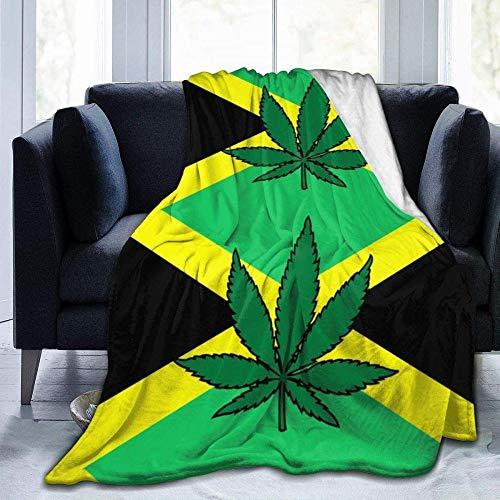 USDFYU Manta De Franela Súper Suave Cómoda Y Cálida Bandera De Jamaica Hoja De Cannabis para Todas Las Estaciones Manta De Sofá Cama Sala De Estar Dormitorio200*150Cm