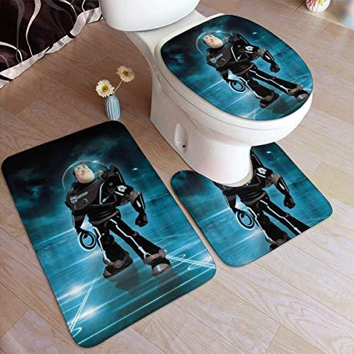 Lawenp 19,5 x 31,5 Zoll Badewannenmatten Set 3-teiliges Buzz Lightyear Badezimmer Antiskid Pad Memory Foam...