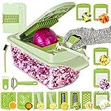 Vegetable Chopper Slicer Onion Chopper Cutter-25 PCS Veggie Mandoline Slicer Food Chopper Dicer for...