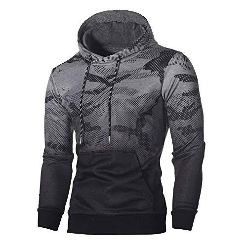 MORCHAN Manches Longues Hommes Camouflage Sweat à Capuche Top Tee Outwear Chemisier(Large,Gris foncé)