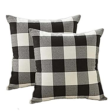 4TH Emotion Farmhouse Decor Black and White Buffalo Checkers Plaids Cotton Linen Throw Pillow Cover Cushion Case Home Decorative for Sofa 18 x 18 Inch, Set of 2