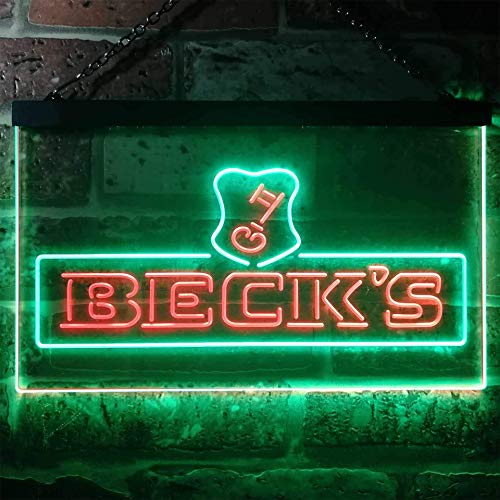zusme Beck's Beer Novelty LED Neon Sign Green + Red W40cm x H30cm