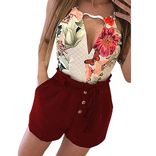 MOTOCO Hohe Taille Einfarbig Lässige Shorts Blütenblätter Hose Stretch Knopf Tasche Shorts Hot Pants Größe 40-50(3XL(50),Wein)