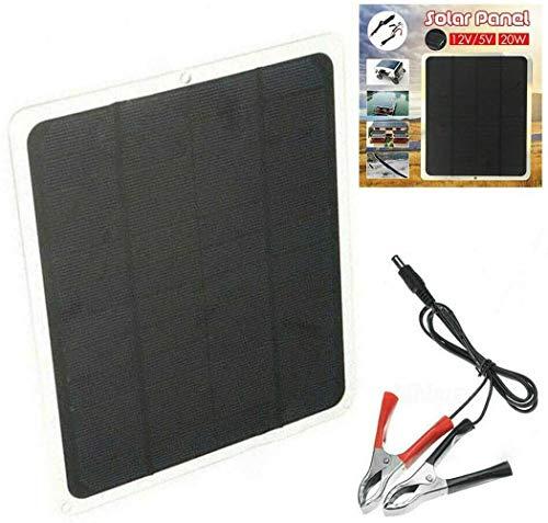 BriskyM Module de Panneau Solaire 12V 20W, Chargeur de Batterie à ruissellement de Panneau Solaire étanche 20W + Kits de câbles de Connexion SAE (Noir, 1)