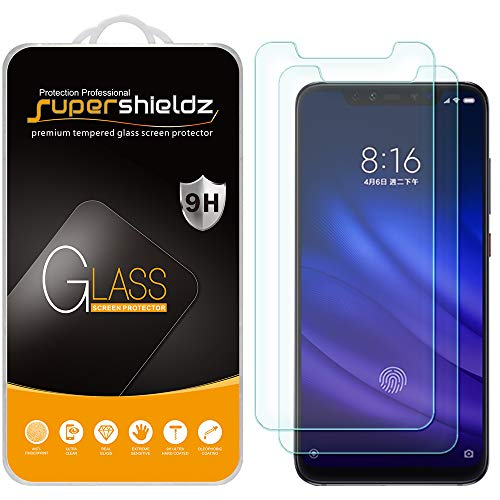 (2 Pack) Supershieldz for Xiaomi Mi 8 and Mi 8 Pro Tempered Glass Screen Protector, Anti Scratch, Bubble Free
