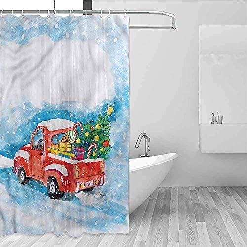 Printed douchegordijn Kerstwagen Winter Scenery schoonmaakbaar, douchegordijn voor badkamer, W122 X H183 CM/48X72 Inch