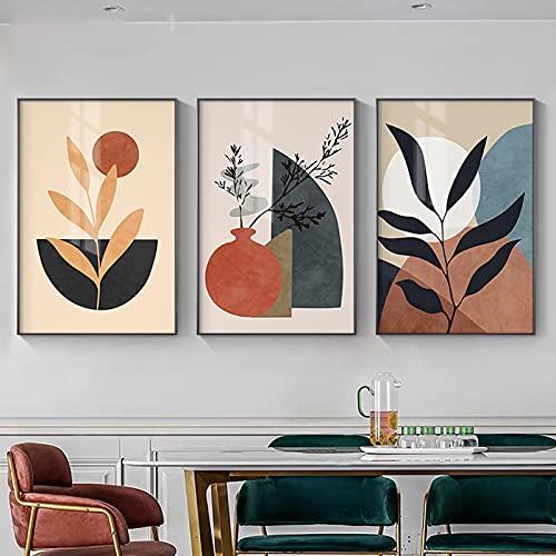 Plantas tropicales Arte de la pared Cuadro Colorido Hoja Lienzo Pintura Verde Geometría Arte Abstracto Minimalista Carteles Impresiones 30X40cmX3 sin marco