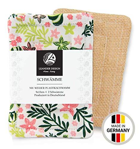 2er-Pack Spülschwämme im Set 9x13cm – aus Baumwolle in Premiumqualität – Handgearbeitet – umweltfreundliches Abwaschen – tiefe Reinigung für die Küche – haltbarer Schwamm (9 x 13 cm, rosa-grün)