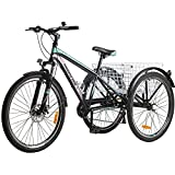 MOPHOTO Mountain Tricycle for Adults, 3 Wheeled 7-Speed Mountain Tricycle 24 inch 26 inch Men's Women's Tricycles Cruiser Bike Featuring Disc Brakes, Cargo Basket