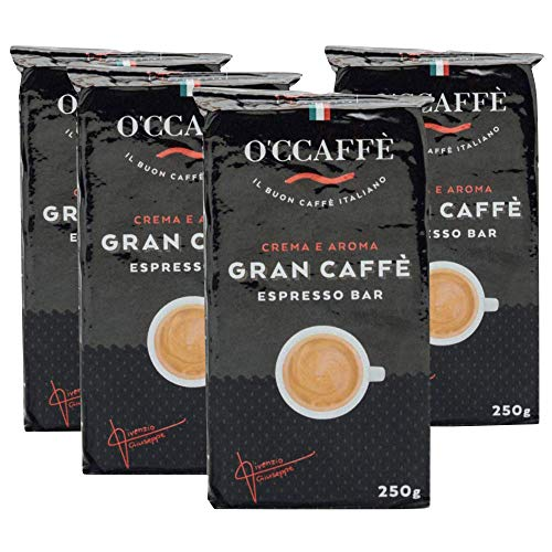 O'CCAFFÈ – Espresso Bar | 4 x 250 gr gemahlener Kaffee | starker gemahlener Kaffee aus italienischem Familienbetrieb | Perfekt für Cappuccino & Latte