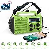 Onlyee Solar Weather Hand Crank Emergency Wind Up Radio | 5 Ways Powered AM/FM/NOAA Portable Weather Alert Survival Radio with Flashlight | 2000 mAh Power Bank, USB Charger Port, SOS Alarm & Compass