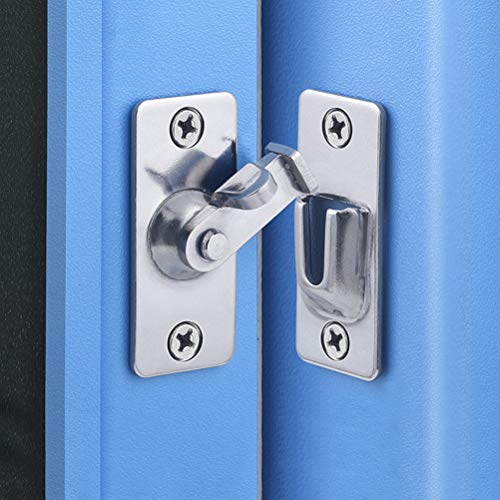 Door Hasp Latch 90 Degree, Stainless Steel Safety Angle Locking Latch for Push/Sliding/Barn Door, Satin Nickel
