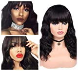 Quantum Love Body Wave Human Hair Wigs with Bangs Brazilian Virgin Human Hair Wigs Glueless Remy Human Hair Natural Color Wig for Women