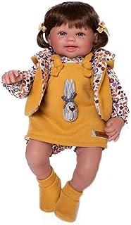 Munecas Guca Puñecas Guca - Puppe Alicia T-Shirt und Strampler mit Latz und Sweatshirt Senf. 38 cm, Mehrfarbig 916