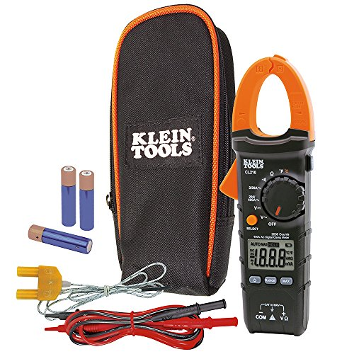 Klein Tools CL210 Digital Clamp Meter Electrical Tester for AC Current, AC/DC Voltage, Resistance and Continuity, and Temperature