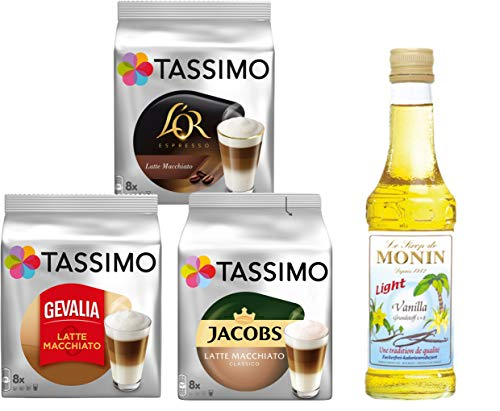 Tassimo® meets Monin® | Set 09 | Latte Macchiato | Sirup | Jacobs | Gevalia | L'OR | 3 verschiedene Tassimo Sorten & 1 Flasche Monin Vanilla Light Sirup 250ml