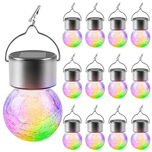 12 Pack Solar Lights Outdoor Hanging - Decorative Cracked Glass LED Ball Lights Waterproof Tree Solar Powered Globe Lights with Handle ,for Garden Yard Patio Holiday Decor.