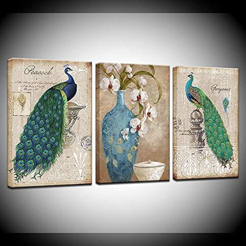 Canvas Schilderij pauw en bloem met vaas Wall Art Schilderen Modulaire Wallpapers Poster Print woonkamer Home Decor-60x80cmx3pcs geen frame