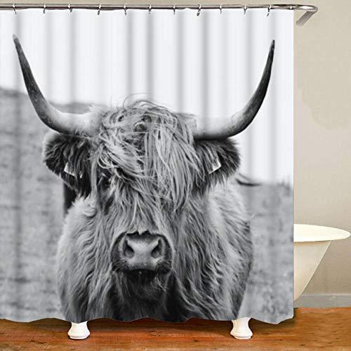 None brand Nordisches PorträT Eines Hochland-Kuh-Duschvorhang-Satzes FüR Badezimmer-Vorhang-Wildtier-Hochland-Rinder-Kuh-Hauptdekor-B150xh180cm