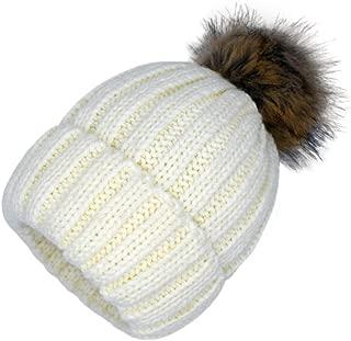 Women Knit Hat Winter Turn up Beanie Warm Fleece Lined with Fur Pompom Thick Snow Knit Ski Cap Chunky Hat