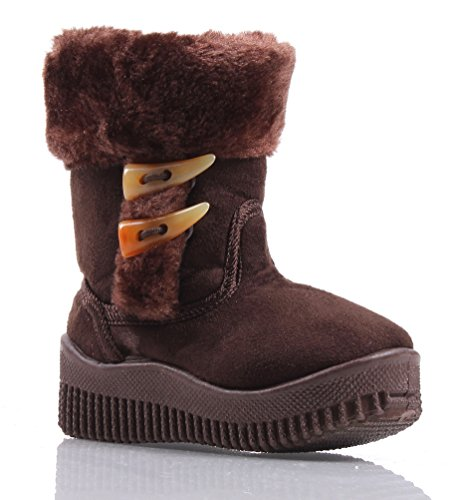 Other Cute Unisex Side Zipper Faux Fur Boys Toddlers Kids Girls Winter Boots Shoes (7, Brown)