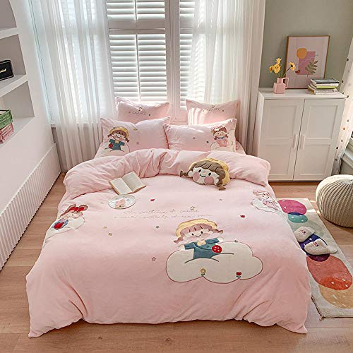 juego de ropa de cama 160x200-Invierno dibujos animados bordado grueso más terciopelo funda nórdica sábana funda de almohada...