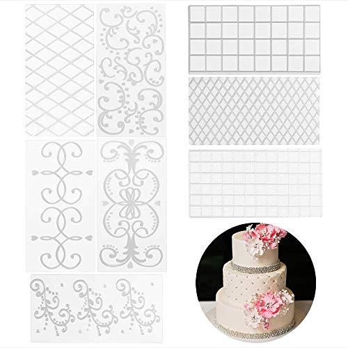 BETOY 8 PC Esterilla de relieve con textura para decoración de tartas 3D efecto Teck Fondant patrón clásico, transparente molde rejilla patrón de decoración herramienta de cocina (30,5 x 16 cm)