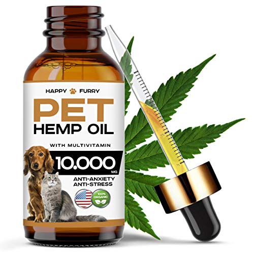 Happy Furry Organic Hemp Oil for Dogs and Cats - 10 000 MG - Made in USA - Anti-Stress &...
