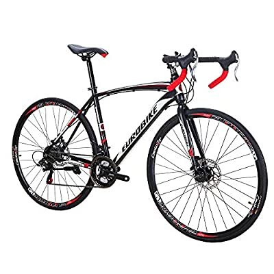 Eurobike Bikes HYXC550 54CM 700C Regular Spoke Wheels 21 Speed Shifting Road Bike Dual Disc Brake Road Bicycle