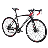 Eurobike Bikes HYXC550 54CM 700C Regular Spoke Wheels 21 Speed Shifting Road Bike Dual Disc Brake Road Bicycle