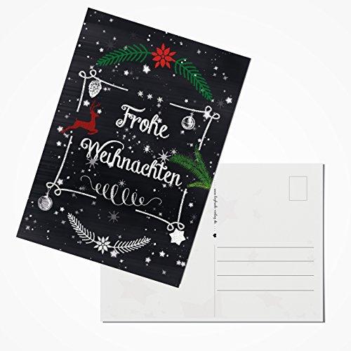 Logbuch-Verlag 100 Stück Weihnachtspostkarten Set Postkarten rot grün schwarz weiß Text FROHE WEIHNACHTEN Tafel-Kreide-Stil 10,5 x 14,8 cm aus eigener Herstellung