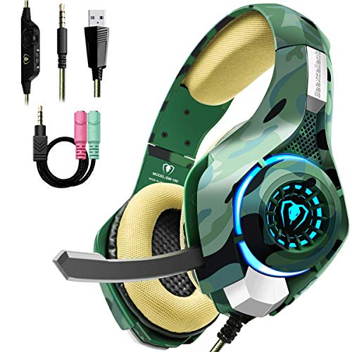 Gaming Headset for PS4 Xbox One PC, Beexcellent Stereo Sound Headphones with Noise Reduction Mic and LED Light (Camo)