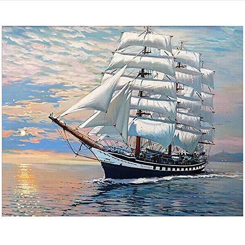 PDFKE Pintura Mar y Barco, Carteles, Lienzo, Cuadros artísticos de Pared, decoración de habitación, 50x70 cm, sin Marco, 1 Uds.