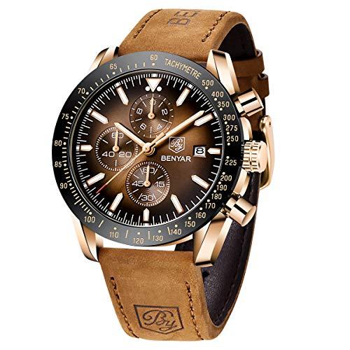 BENYAR Herren Uhren Chronograph Analog Quarzuhr Lederarmband Mode Sport Wasserdicht Armbanduhr Elegantes Geschenk für männer