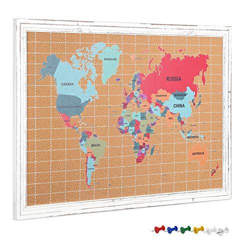 Navaris Tablero de corcho con mapa mundi - Memo board con marco de madera para colgar notas fotos postales - Pizarra con mapa mundial con chinchetas
