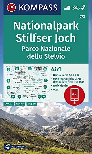 KV WK 072 Nationalpark Stilfser Joch/Parco Nazionale dello Stelvio: 4in1 Wanderkarte 1:50 000 mit Aktiv Guide und Detailkarten inklusive Karte zur ... Skitouren (KOMPASS-Wanderkarten, Band 72)