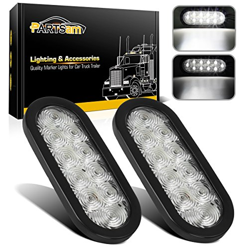 "Partsam 2pcs Trailer Truck RV White 10 LED Rubber Mount 6"" Oval Marker Fog Backup Reverse Tail Lights, Grommet and Hardwired for Car Truck Trailer RV UTE UTV Vans(Waterproof IP65)"