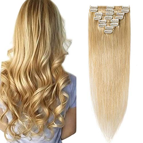 SEGO Clip in Hair Extension Cheveux Naturel Humain Meche Remy - 25 CM 24#Blond Naturel - [Mini Volume] Lisse Raide 100% Human Hair