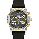 Bulova Marine Star Chronograph Mens Stainless Steel with Black Silicone Strap, Two-Tone (Model: 98B277)