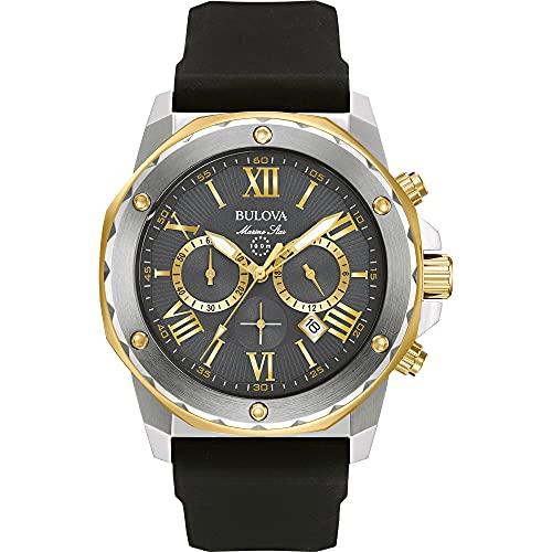 Bulova Relógio analógico masculino de aço inoxidável com pulseira de silicone, preto, 24 (modelo: 98B277)