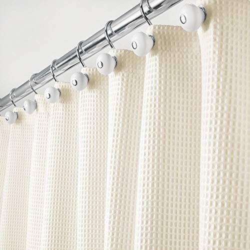 mDesign Hotel Quality Polyester/Cotton Blend Machine Washable Fabric Shower Curtain with Waffle Weave and Rust-Resistant Metal Grommets for Bathroom Showers and Bathtubs - 72' x 72' - Sand/Khaki