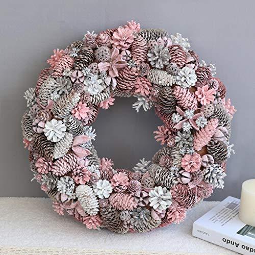 35CM / 45CM Rosa Decoraciones de Navidad de la Guirnalda de Flores, Escaparate Corona de la decoración Classmate Amigo Recuerdos (Size : 45CM)